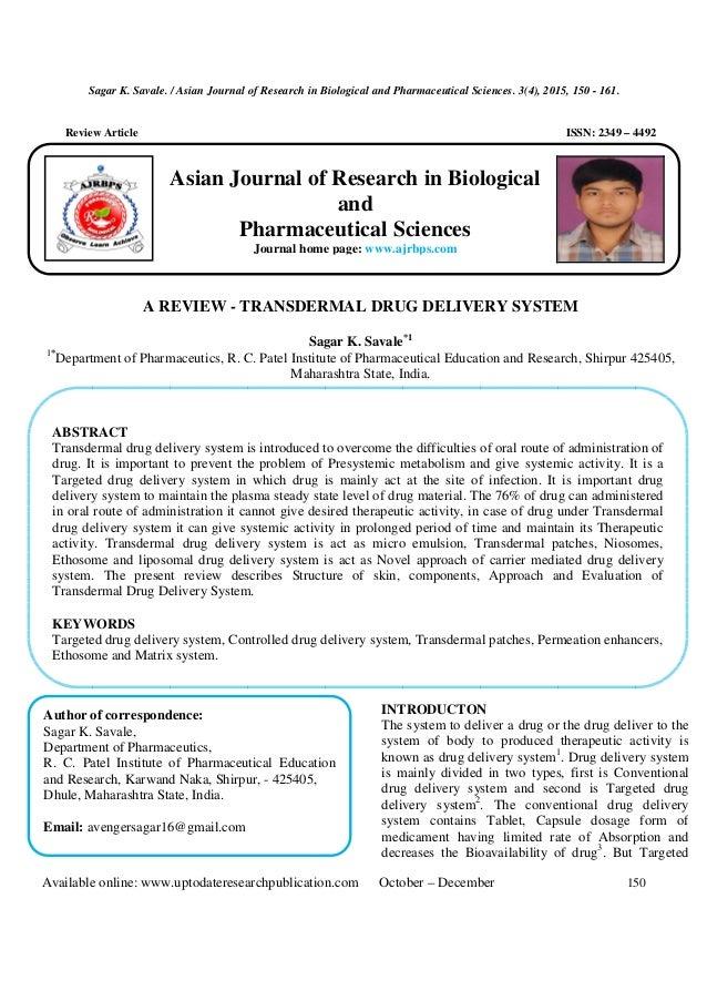 Transdermal drug delivery system (TDDS)