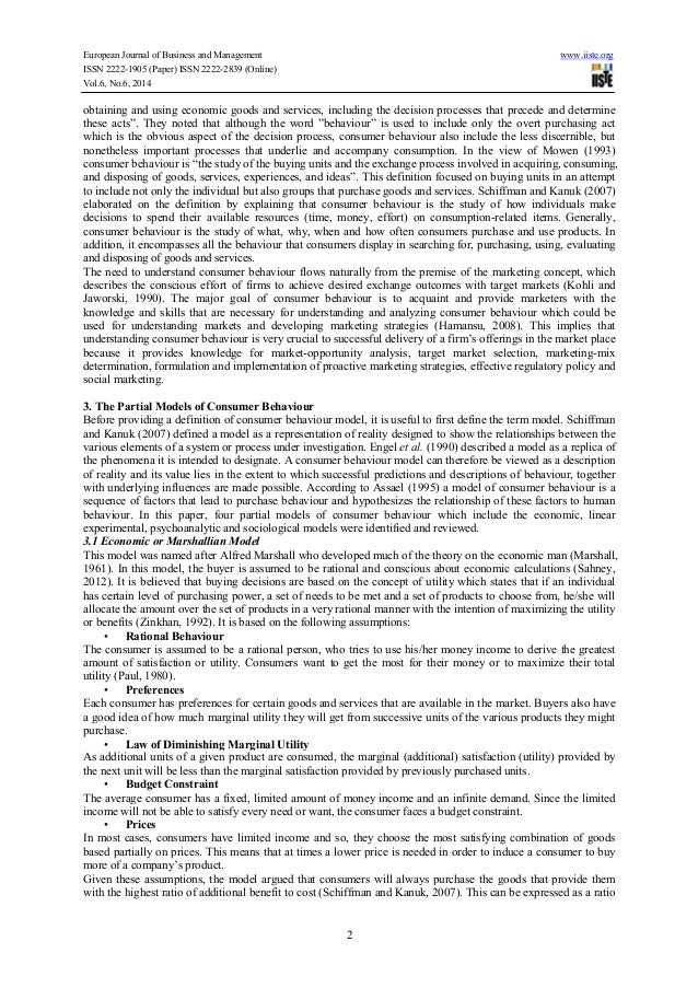 literature review of buyer behaviour models Consumer behaviour: a literature review 323 the rational perspective the economists were the first to dominate model building, in the area of buying behaviour the early economic view considered consumer behaviour in terms of a single act of purchase itself, and post-purchase reactions economic theory holds that.