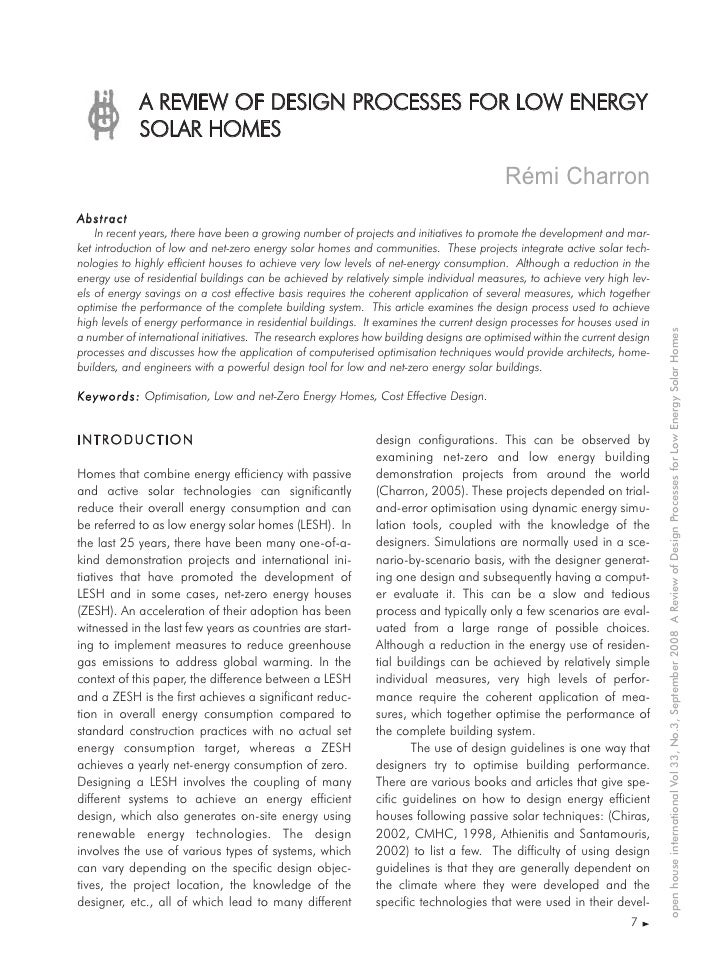 A REVIEW OF DESIGN PROCESSES FOR LOW ENERGY              SOLAR HOMES                                                      ...