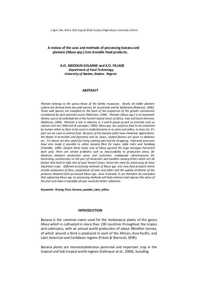 literature review on ripe and unripe plantain