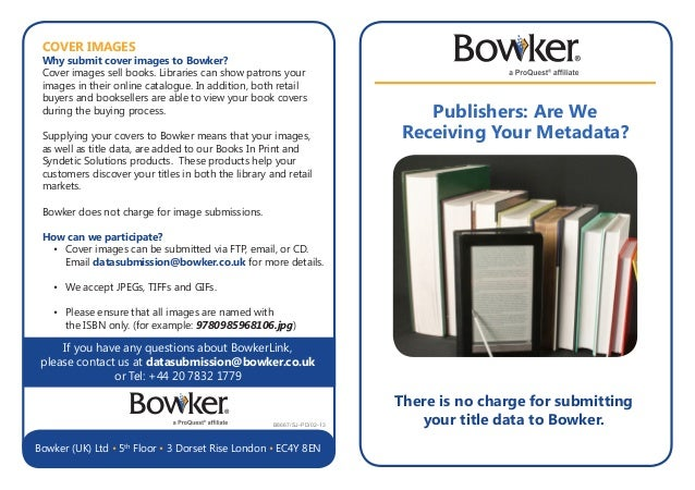 Publishers: Are We Receiving Your Metadata? If you have any questions about BowkerLink, please contact us at datasubmissio...