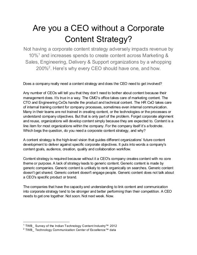 Are you a CEO without a Corporate Content Strategy? Not having a corporate content strategy adversely impacts revenue by 1...
