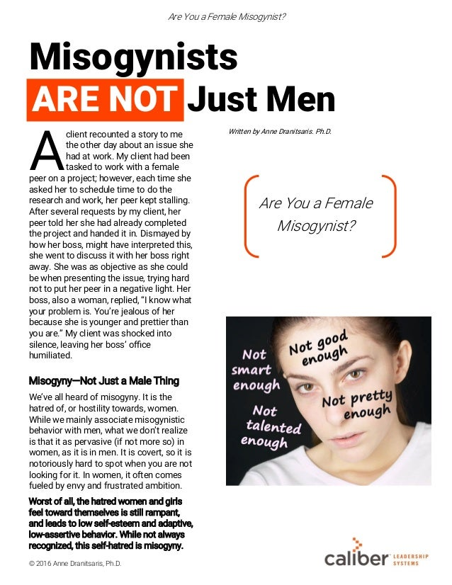 Are You a Female Misogynist?