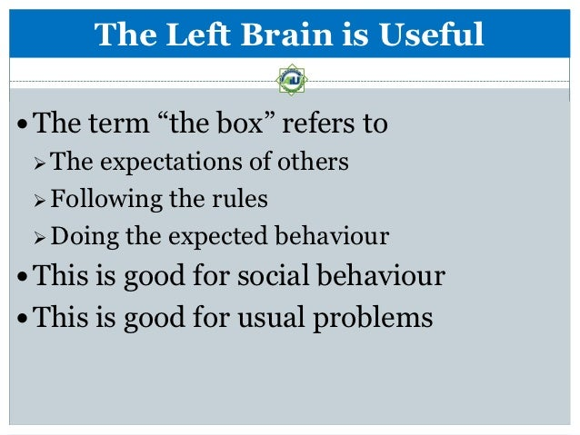 """The Left Brain is Useful The term """"the box"""" refers to  The expectations of others  Following the rules  Doing the expe..."""