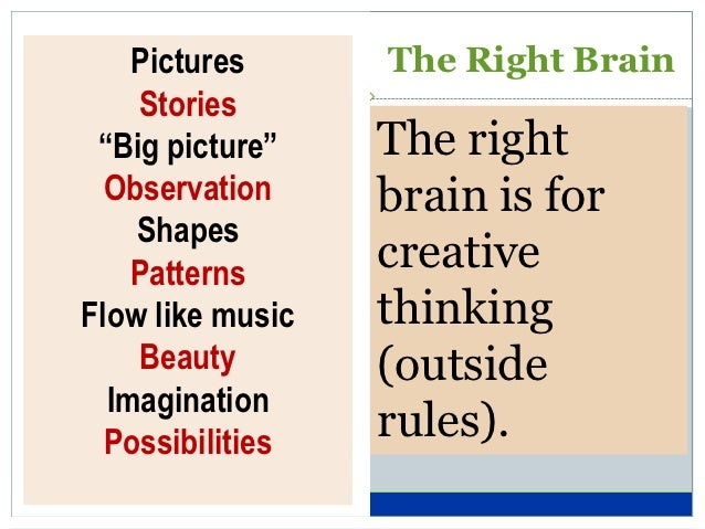 """Pictures      The Right Brain    Stories """"Big picture""""    The right  Observation     brain is for    Shapes    Patterns   ..."""