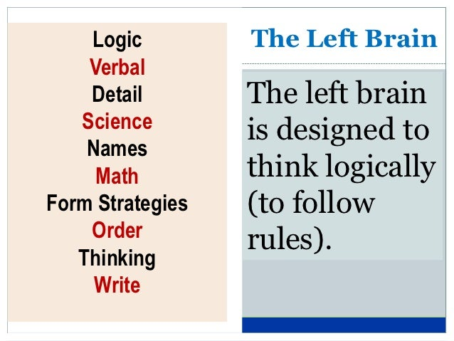 Logic         The Left Brain    Verbal    Detail        The left brain   Science        is designed to    Names     Math  ...