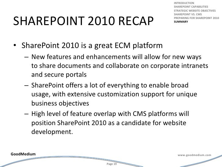 Sharepoint 2010 recap<br />SharePoint 2010 is a great ECM platform<br />New features and enhancements will allow for new w...