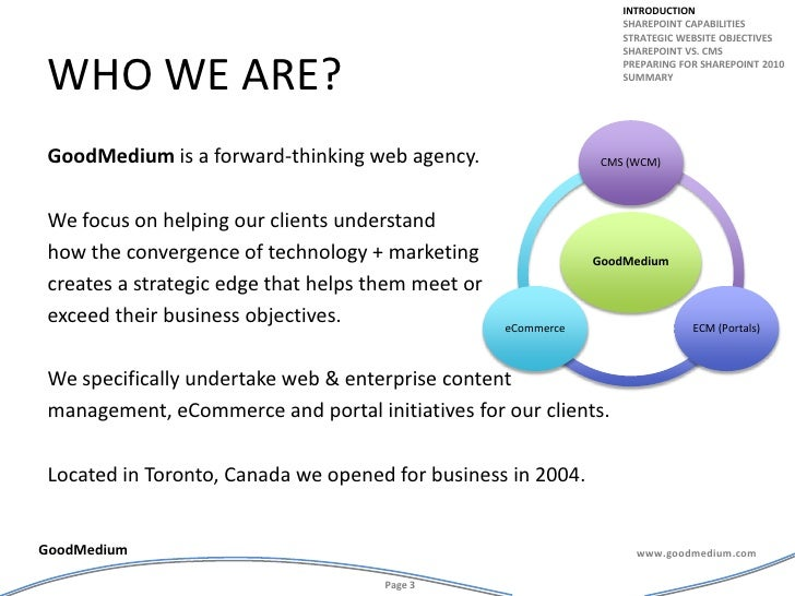 Who we are?<br />GoodMedium is a forward-thinking web agency. <br />We focus on helping our clients understand <br />how t...