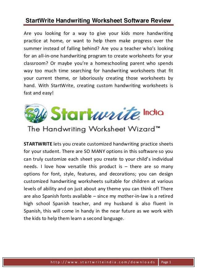StartWrite Handwriting Worksheet Software Review