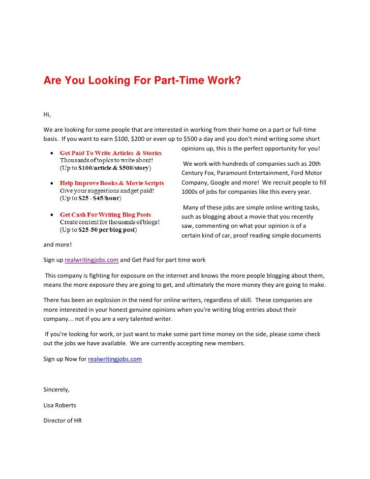 Are You Looking For Part-Time Work?  Hi,  We are looking for some people that are interested in working from their home on...