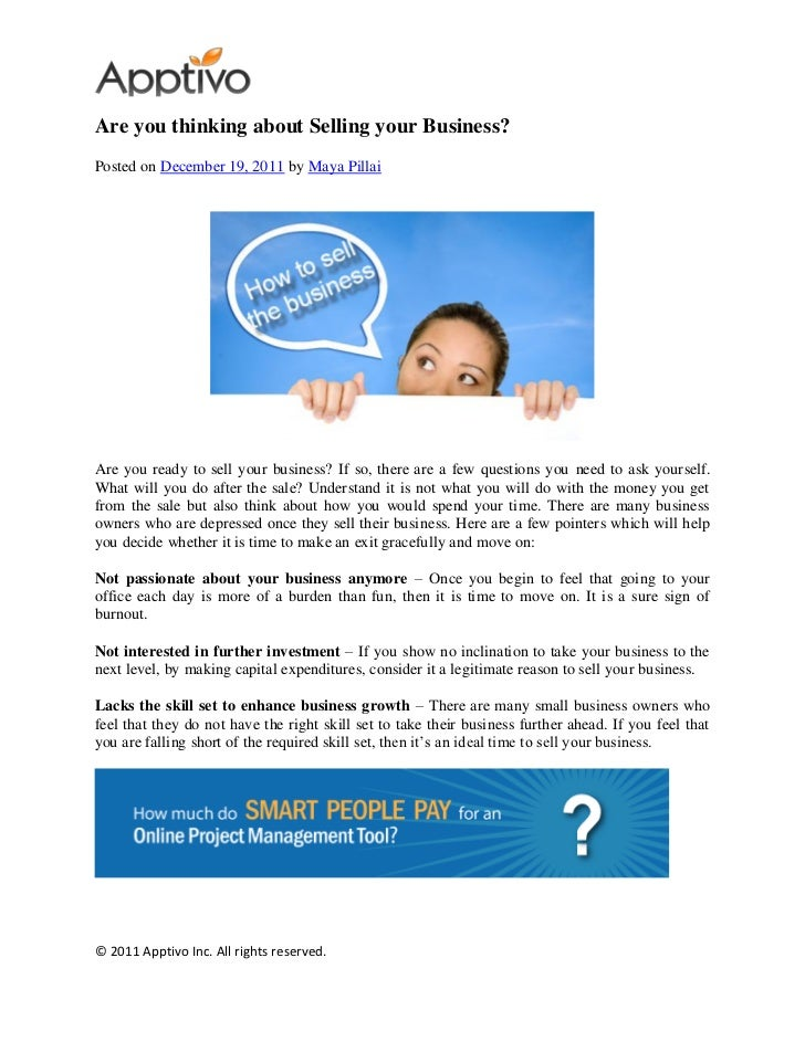 Are you thinking about Selling your Business?Posted on December 19, 2011 by Maya PillaiAre you ready to sell your business...