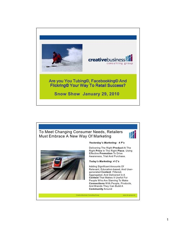 Are you You Tubing©, Facebooking© And     Flickring© Your Way To Retail Success?         Snow Show January 29, 2010     To...