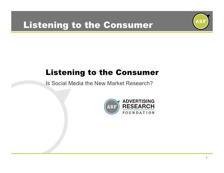Listening to the Consumer         Listening to the Consumer     Is Social Media the New Market Research?                  ...