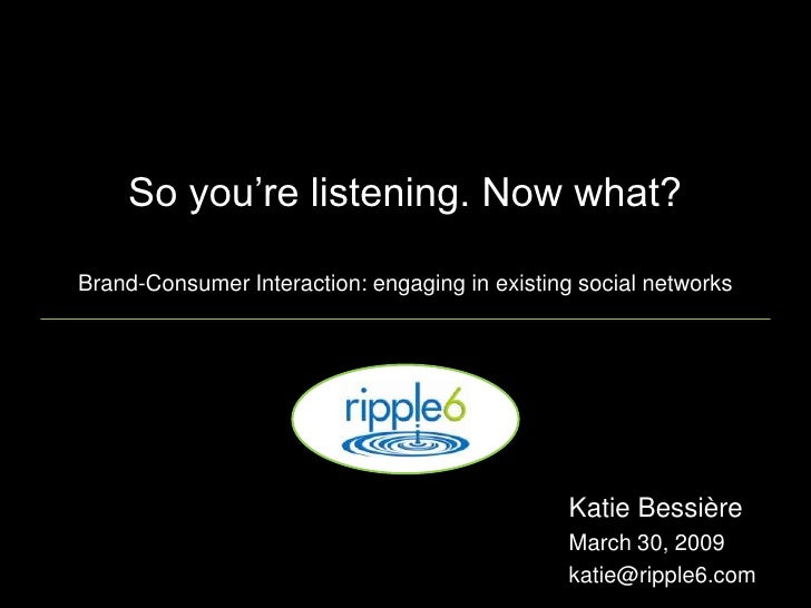 "So you""re listening. Now what?  Brand-Consumer Interaction: engaging in existing social networks                          ..."
