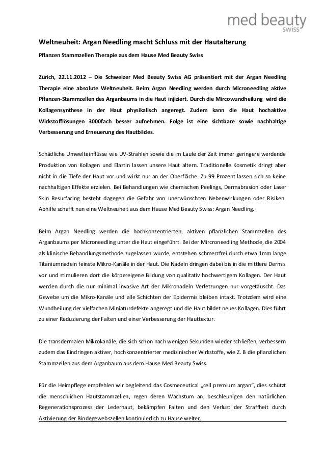 Weltneuheit: Argan Needling macht Schluss mit der HautalterungPflanzen Stammzellen Therapie aus dem Hause Med Beauty Swiss...