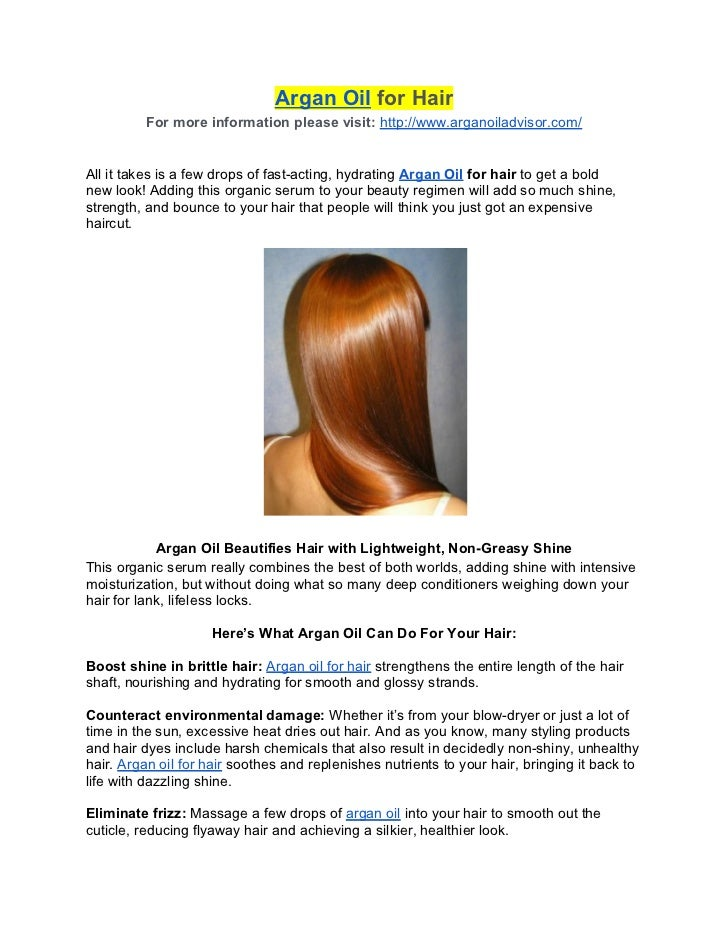 Argan Oil for Hair          For more information please visit: http://www.arganoiladvisor.com/All it takes is a few drops ...