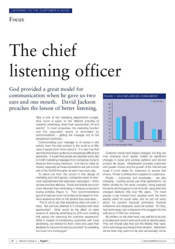LISTENING TO THE CUSTOMER'S VOICEFocusThe chieflistening officerGod provided a great model forcommunication when he gave u...