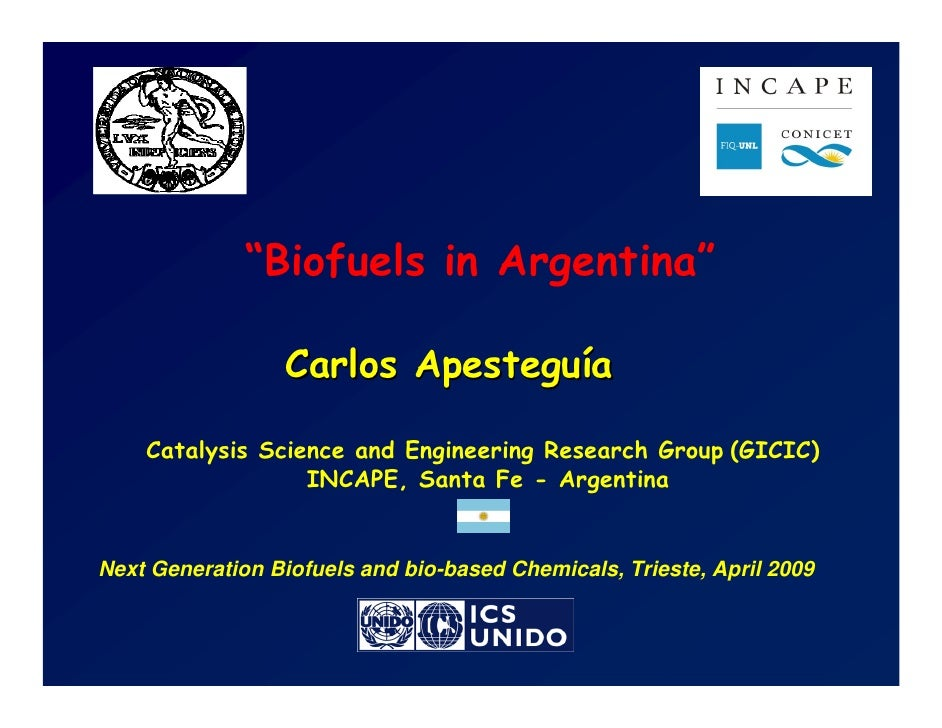 """""""Biofuels in Argentina""""                    Carlos Apesteguía      Catalysis Science and Engineering Research Group (GICIC)..."""