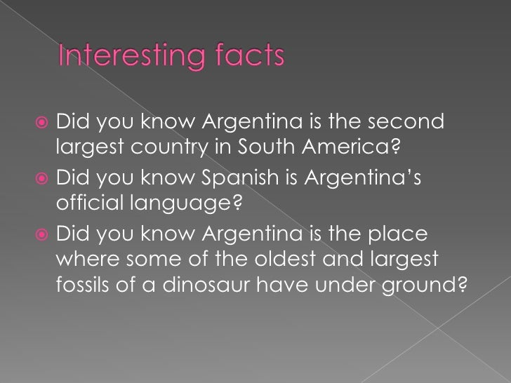 Argentina for Good facts about america