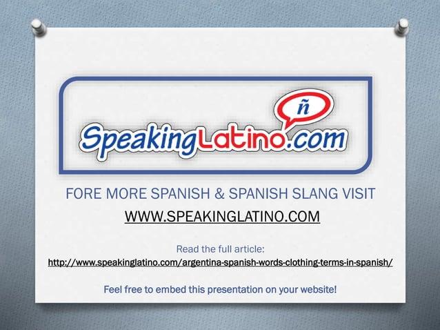 Clothing Words in Spanish: Argentine Spanish