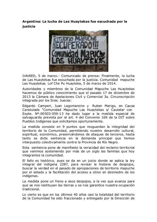Argentina: La lucha de Las Huaytekas fue escuchada por la justicia  InfoRED, 5 de marzo.- Comunicado de prensa: Finalmente...