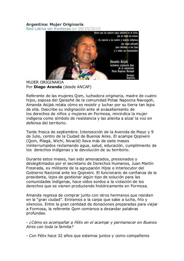 Argentina: Mujer Originaria Red Latina sin fronteras on 09/25/2015 MUJER ORIGINARIA Por Diego Aranda (desde ANCAP) Referen...