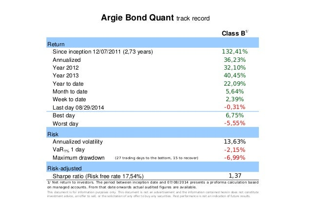 Argie Bond Quant track record  Return  Since inception 12/07/2011 (2,73 years)  Annualized  Year 2012  Year 2013  Year to ...