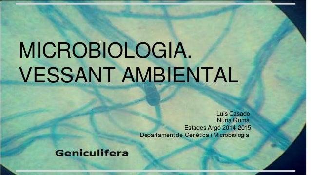 MICROBIOLOGIA. VESSANT AMBIENTAL Luis Casado Núria Gumà Estades Argó 2014-2015 Departament de Genètica i Microbiologia