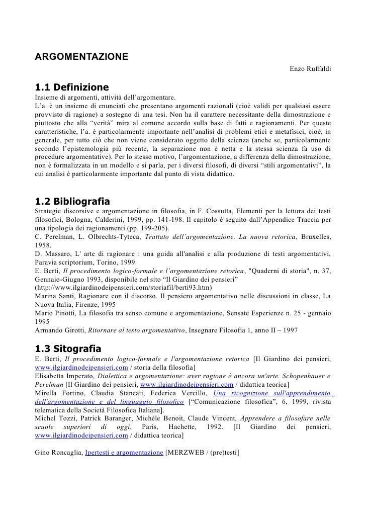 ARGOMENTAZIONE                                                                                          Enzo Ruffaldi1.1 D...
