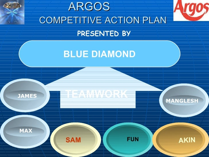 ARGOS COMPETITIVE ACTION PLAN   BLUE DIAMOND TEAMWORK  BLUE DIAMOND JAMES FUN SAM AKIN PRESENTED BY  MAX JAMES MANGLESH