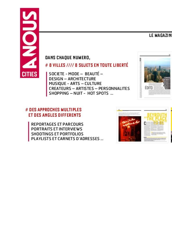 A NOUS CITIES                                                    LE MAGAZINE QUI VA VOIR AILLEURS >>>        DANS CHAQUE N...