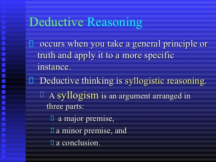 deductive essay outline A very brief outline of critical thinking i critical thinking deductive argument =df premises are intended to provide conclusive reasons for the conclusion.