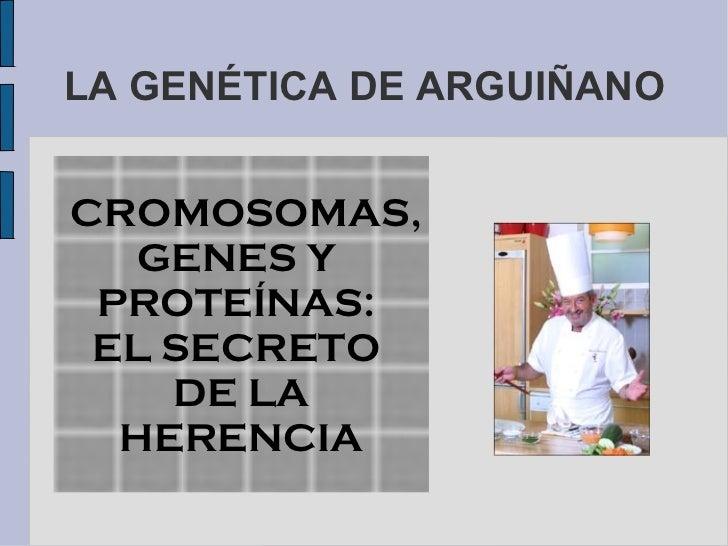 LA GENÉTICA DE ARGUIÑANOCROMOSOMAS,  GENES Y PROTEÍNAS: EL SECRETO    DE LA  HERENCIA