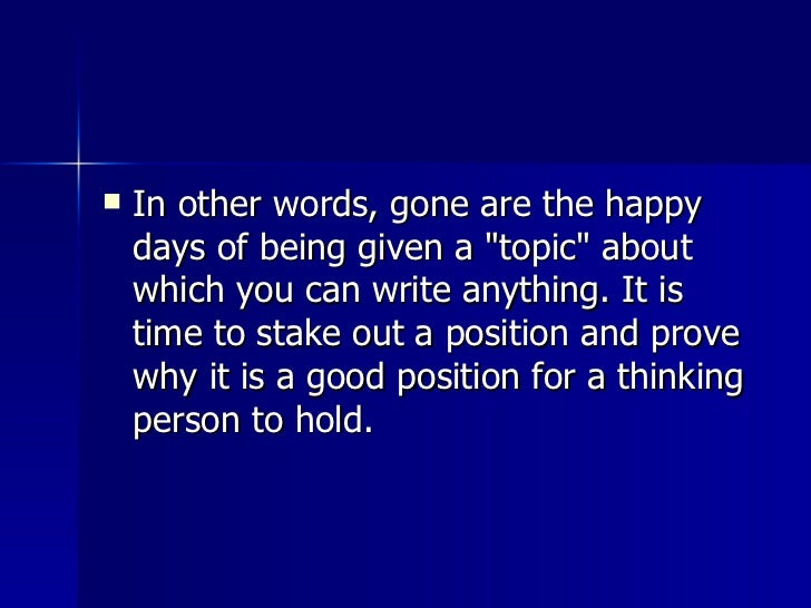 <ul><li>In other words, gone are the happy days of being given a &quot;topic&quot; about which you can write anything. It ...