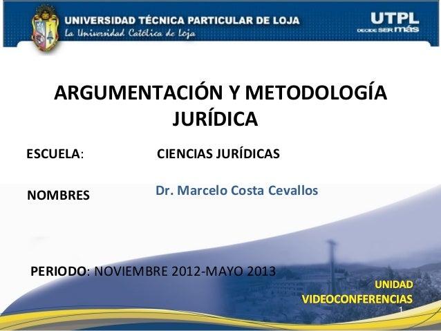 ARGUMENTACIÓN Y METODOLOGÍA            JURÍDICAESCUELA:        CIENCIAS JURÍDICASNOMBRES         Dr. Marcelo Costa Cevallo...
