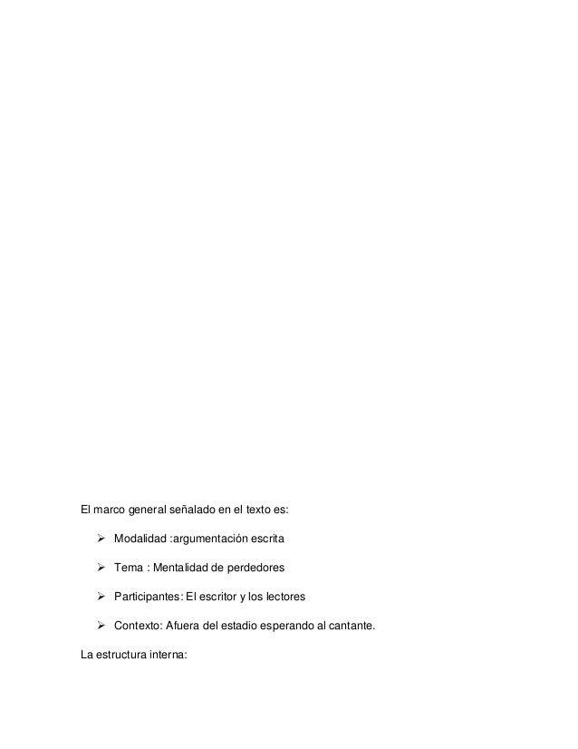 El marco general señalado en el texto es:  Modalidad :argumentación escrita  Tema : Mentalidad de perdedores  Participa...