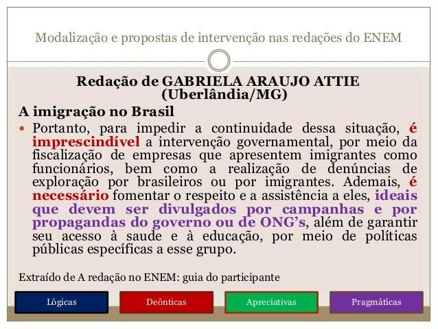 Modalização e propostas de intervenção nas redações do ENEM Redação de GABRIELA ARAUJO ATTIE (Uberlândia/MG) A imigração n...