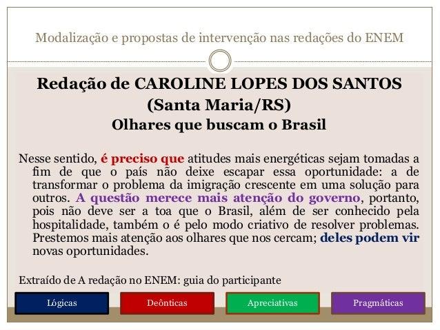 Modalização e propostas de intervenção nas redações do ENEM Redação de CAROLINE LOPES DOS SANTOS (Santa Maria/RS) Olhares ...