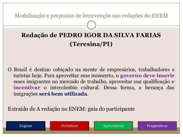 Modalização e propostas de intervenção nas redações do ENEM Redação de PEDRO IGOR DA SILVA FARIAS (Teresina/PI) O Brasil é...