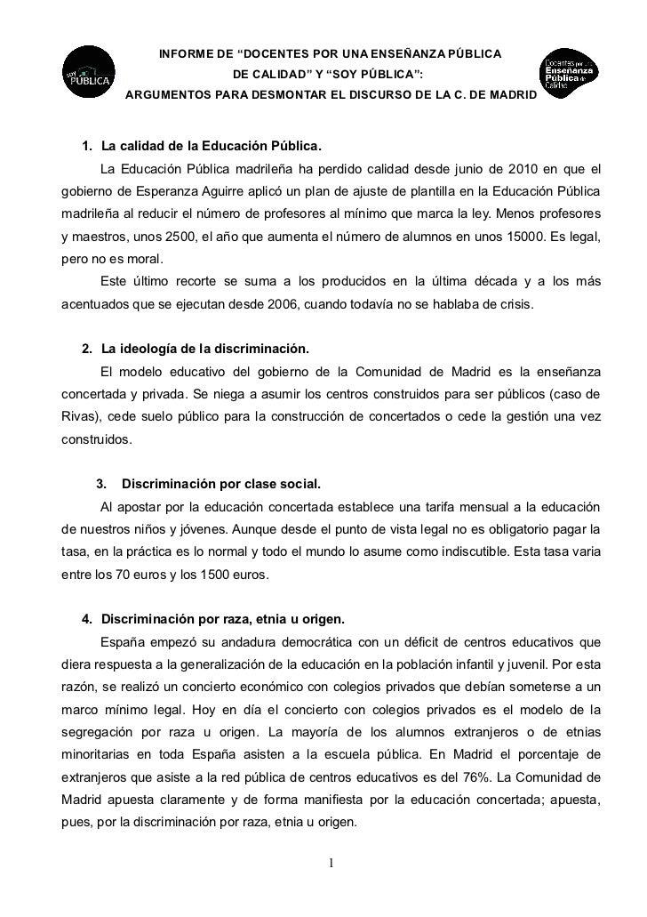 """INFORME DE """"DOCENTES POR UNA ENSEÑANZA PÚBLICA                              DE CALIDAD"""" Y """"SOY PÚBLICA"""":           ARGUMEN..."""
