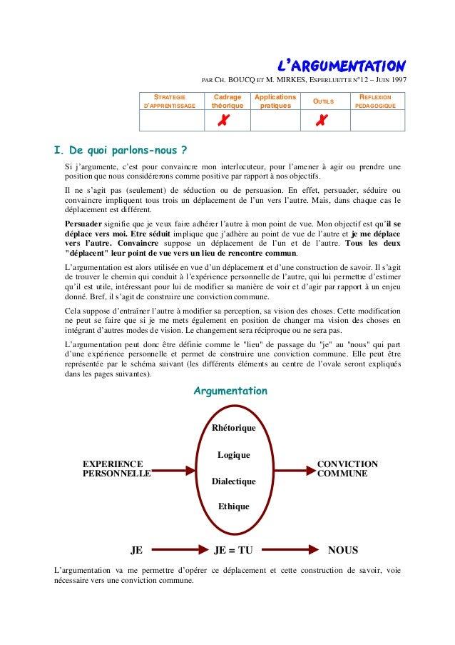 L'ARGUMENTATION PAR CH. BOUCQ ET M. MIRKES, ESPERLUETTE N°12 – JUIN 1997 STRATEGIE D'APPRENTISSAGE Cadrage théorique Appli...
