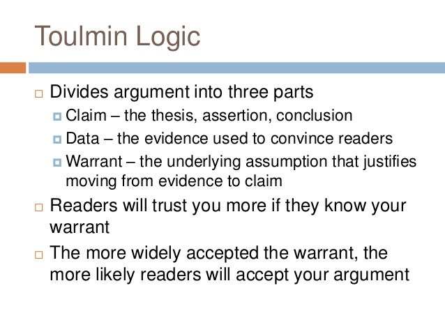 parts of a toulmin essay Parts of an argument the claim the reasons the evidence anticipated objections and rebuttal drawing conclusions from a toulmin analysis the toulmin method.