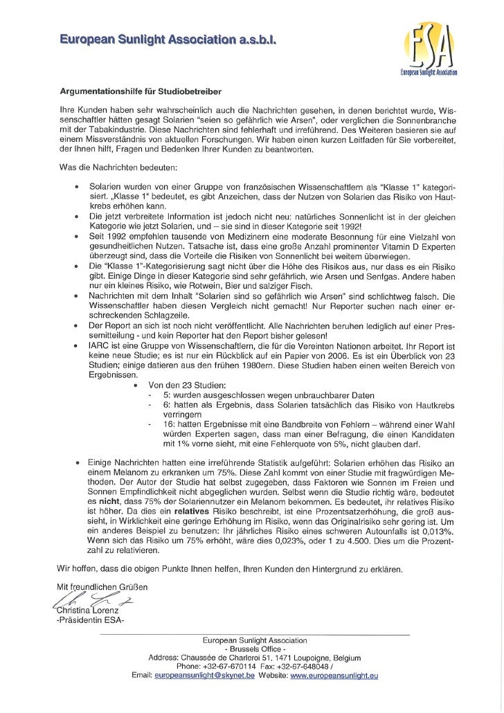 Argumentationshilfe ESA - IARC