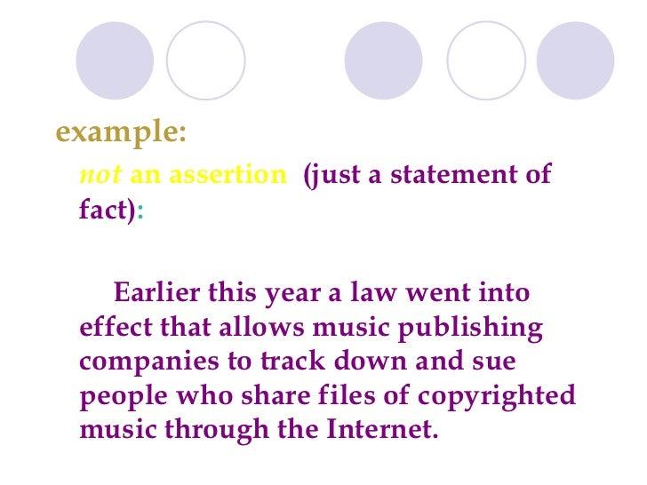 assertions in an essay