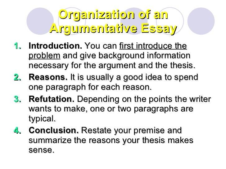 organization of an argumentative essay
