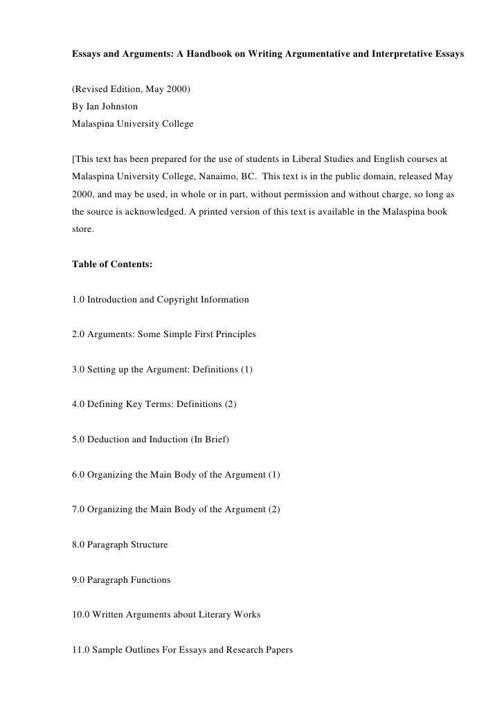 essays and arguments a handbook on writing argumentative and interpretative essays. Resume Example. Resume CV Cover Letter