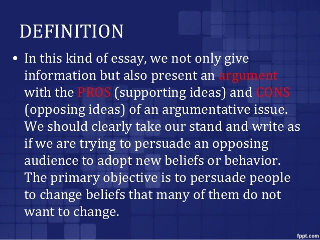 Argument of definition essay examples