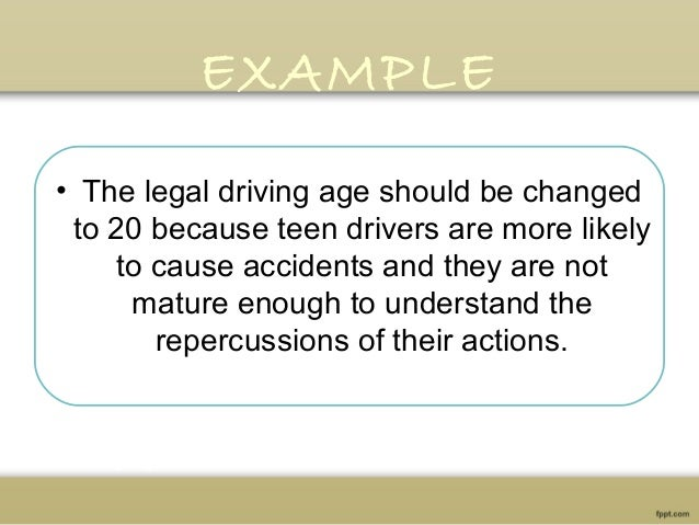argumentative essay 8 example • the legal driving age