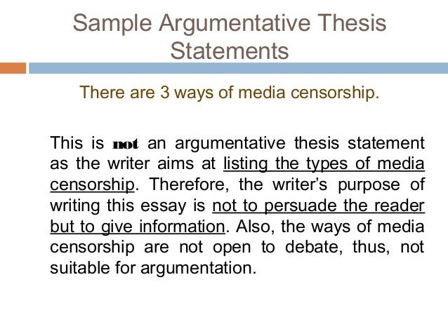 argumentative essay  sample argumentative thesis