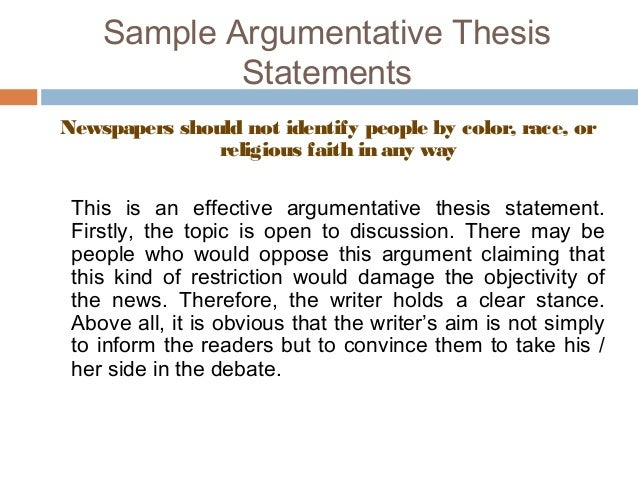 argumentative thesis statement examples